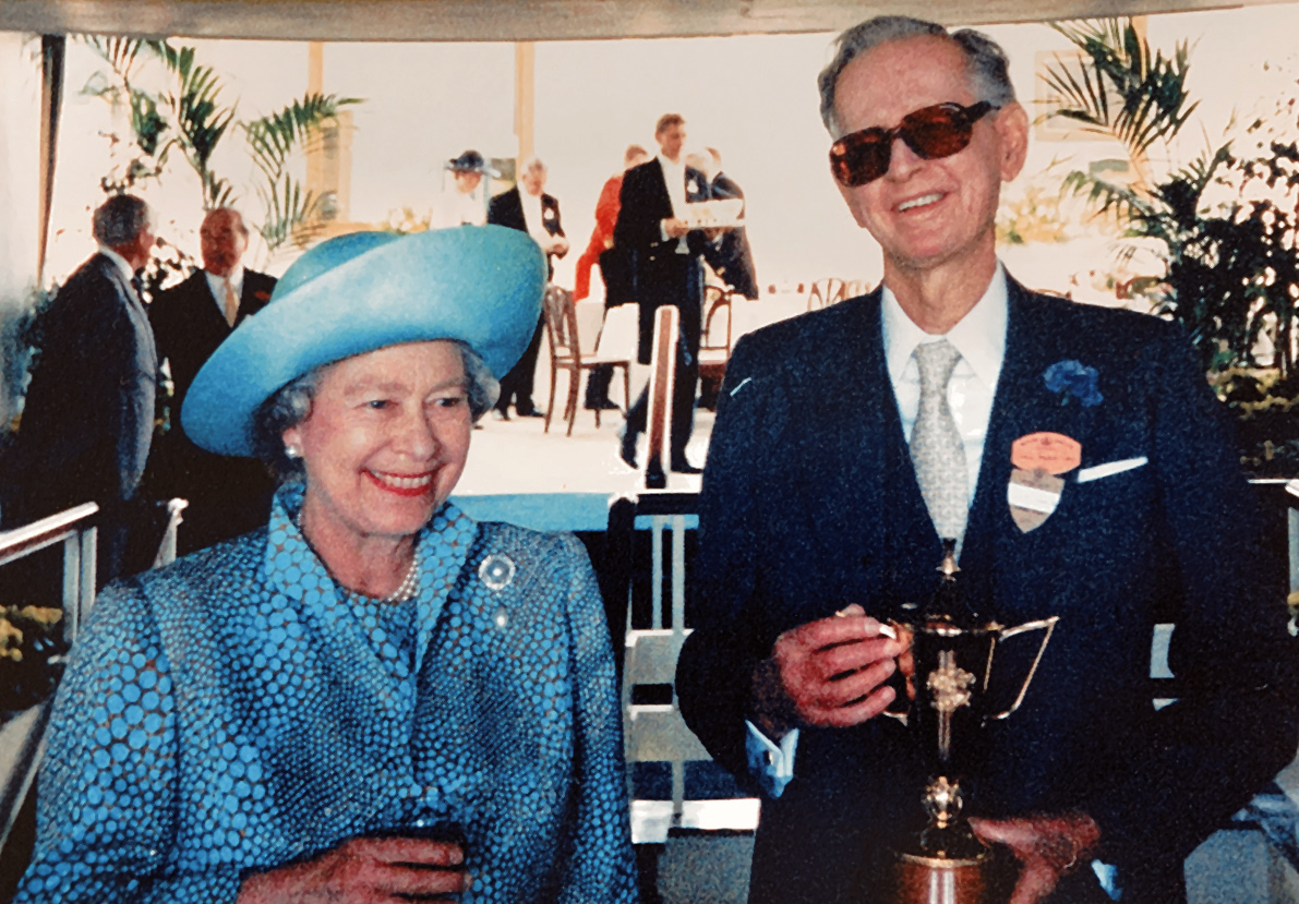 Mr Pearce and HRH the Queen On winning the Ascot Gold Cup 1994